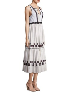 SUNO Embroidered Cotton Leaf Gown