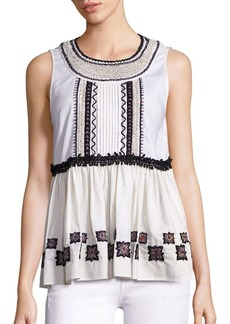 Suno Embroidered Cotton Leaf Sleeveless Top