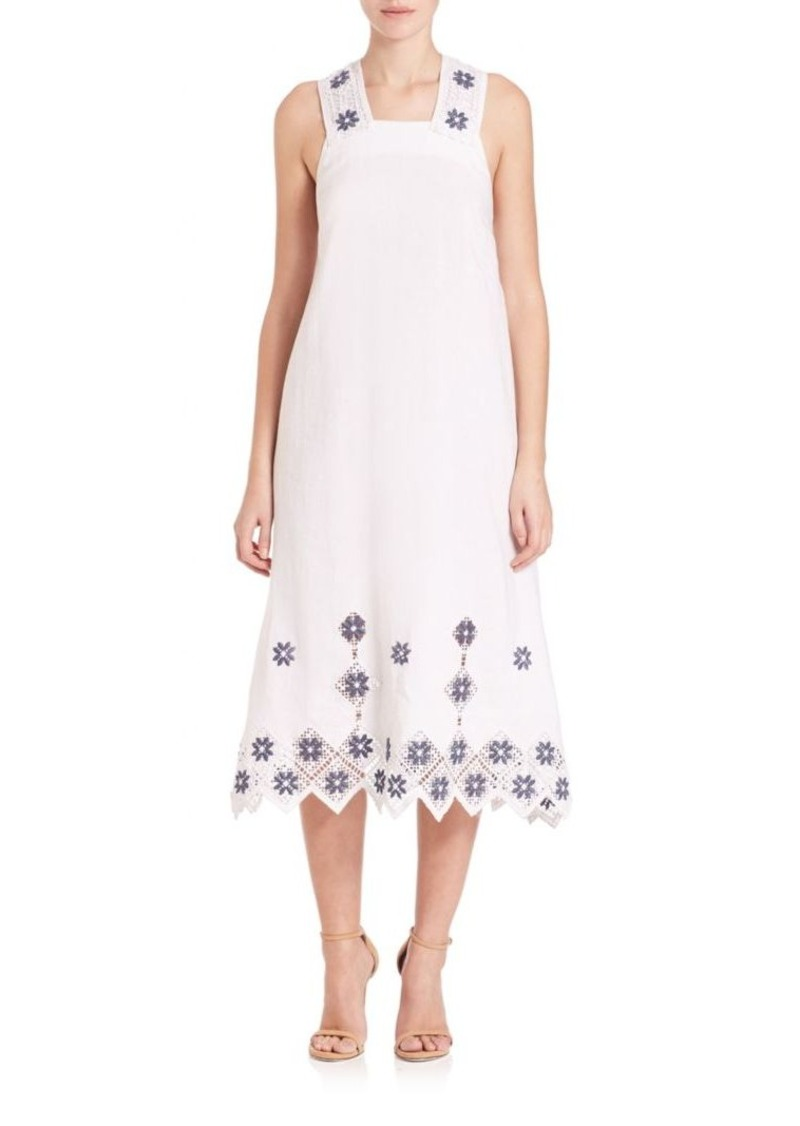 SUNO Embroidered Cross-Back Midi Dress