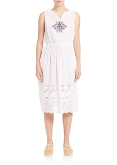 SUNO Embroidered Laser-Cut Dress