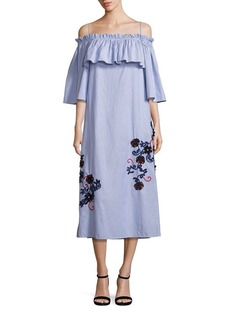SUNO Embroidered Off-The-Shoulder Pinstriped Flare Dress