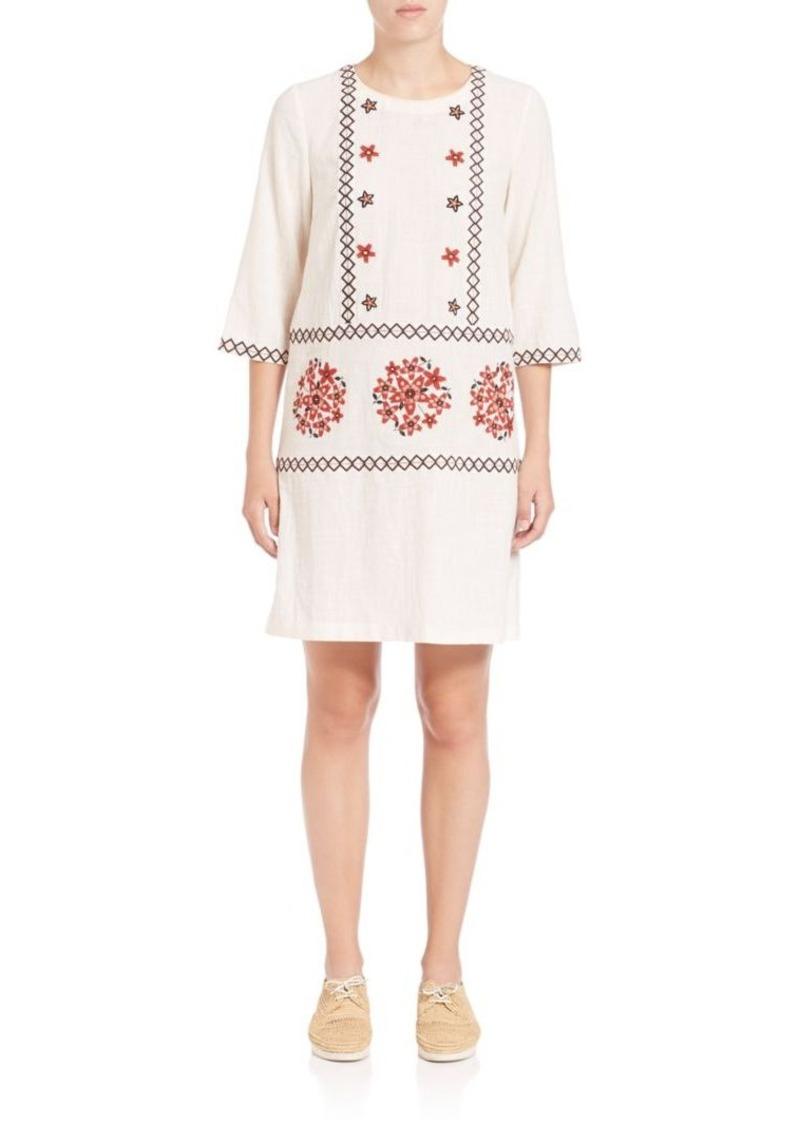SUNO Embroidered Shift Dress