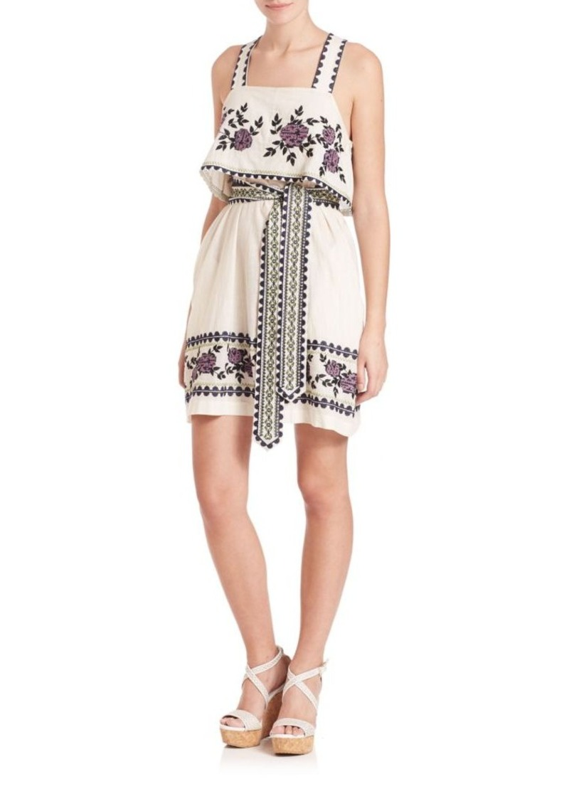 SUNO Embroidered Tie Dress