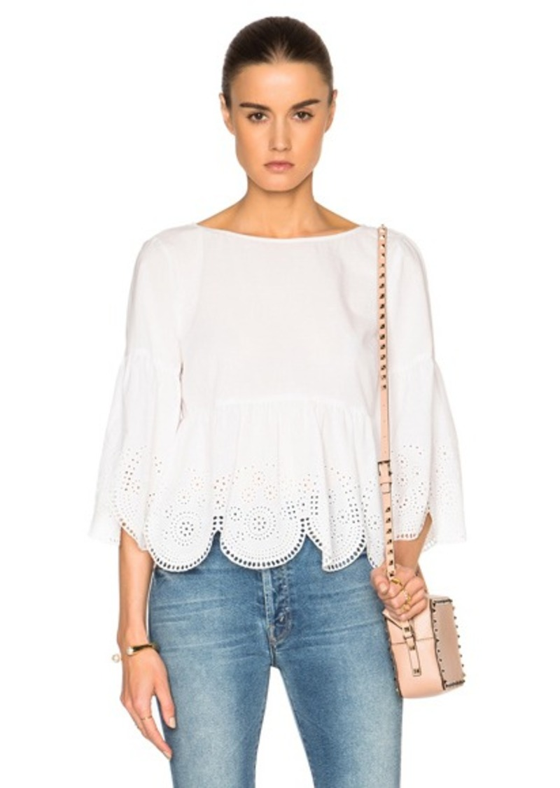 SUNO Eyelet Lace Cropped Top
