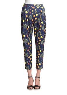 SUNO Fruit-Print Satin Track Pants