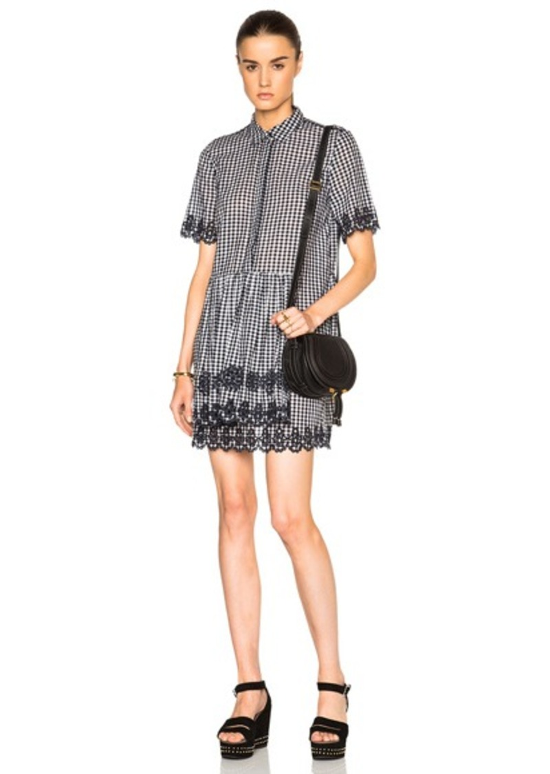 SUNO Scalloped Shirt Dress