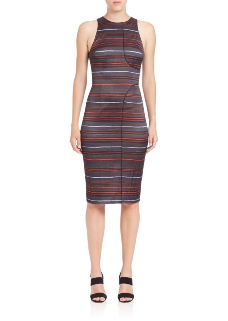 SUNO Seam-Detail Stripe Pencil Dress