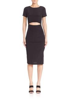 SUNO Solid Silk Cutout Body-Con Dress