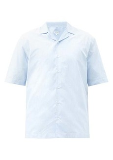 Sunspel Cuban-collar striped cotton shirt