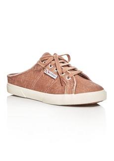 Superga Crushed Velvet Lace Up Sneaker Mules