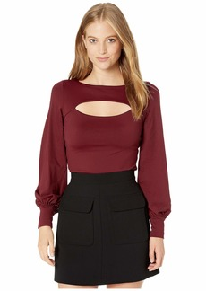Susana Monaco Gathered Sleeve Cutout Top