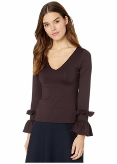 Susana Monaco Long Sleeve Double Ruffle Top
