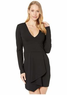 Susana Monaco Long Sleeve Folded Cascade Front Dress