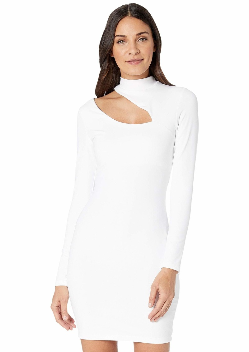 Susana Monaco Long Sleeve Mock Neck Slash Front Dress