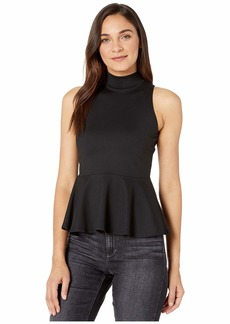 Susana Monaco Mock Neck Peplum Top
