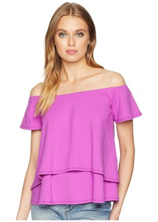 Susana Monaco Off Shoulder Double Layer Flutter Top