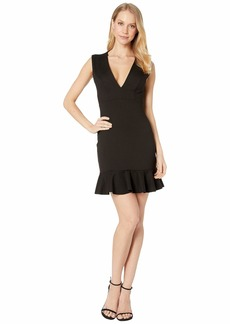 Susana Monaco Plunge Ruffle Hem Dress