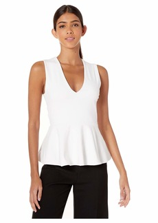 Susana Monaco Sleeveless V-Neck Peplum Top