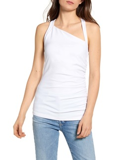 Susana Monaco Angled Neck Side Ruched Tank Top