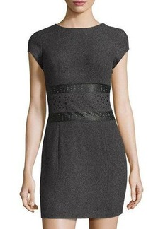Susana Monaco Cap-Sleeve Faux-Leather Panel Dress