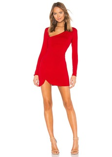 Susana Monaco Curved Neck Long Sleeve Dress