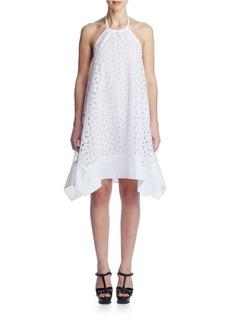SUSANA MONACO Embroidered Asymmetrical Scoopback Dress