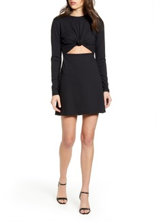Susana Monaco Knot Cutout Long Sleeve Minidress