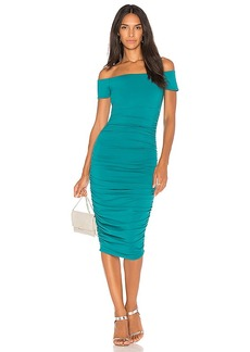 Susana Monaco Ljonas Ruched Midi Dress 25 in Green. - size L (also in XS,S,M)