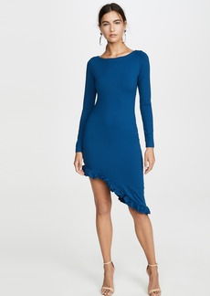 Susana Monaco Long Sleeve Curved Ruffle Hem Dress