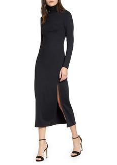 Susana Monaco Long Sleeve Turtleneck Slit Dress