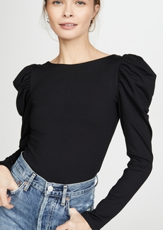 Susana Monaco Round Neck Gathered Sleeve Top