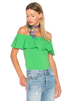 Susana Monaco Ruffle Off Shoulder Top in Green. - size M (also in S,XS)