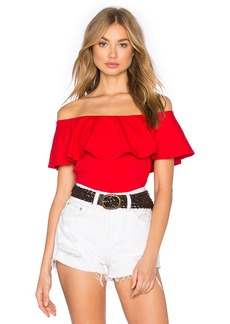 Susana Monaco Ruffle Off Shoulder Top in Red. - size M (also in S,XS)