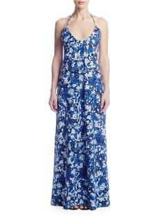 SUSANA MONACO Skye Printed Halter Gown
