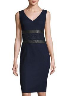 Susana Monaco Sleeveless Faux-Leather Panel Dress