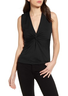 Susana Monaco Twist Front Sleeveless V-Neck Top