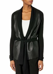 Susana Monaco Women's Belted Cardigan with Leather Front  XS