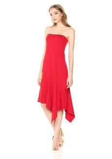 Susana Monaco Women's Cerise Strapless Asymmetrical Ruffle Hem Midi Dress Perfect red