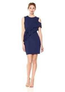 Susana Monaco Women's CLAUDA Ruffle Detail Open Shoulder Mini Dress deep sea M