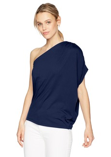 Susana Monaco Women's Darcy Gathered One Shoulder Top with Draping in Solid Color Deep Sea L