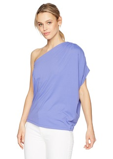 Susana Monaco Women's Darcy Gathered One Shoulder Top with Draping in Solid Color  M