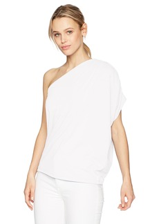 Susana Monaco Women's Darcy Gathered One Shoulder Top With Draping In Solid Color Sugar M