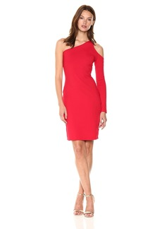 Susana Monaco Women's Dina One-Sleeved Open Shoulder Dress Perfect red S