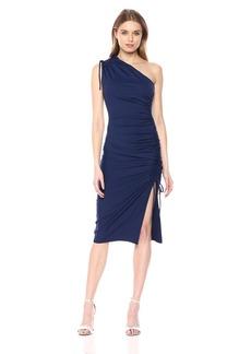 Susana Monaco Women's Lillie Gathered ONE Shoulder TIE Detail Dress with Slit deep sea XS