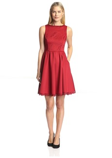Susana Monaco Women's Lucy Lasercut Dress FireBrick  US