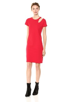 Susana Monaco Women's Maya Cutout Shoulder Short Sleeve Dress Perfect red L
