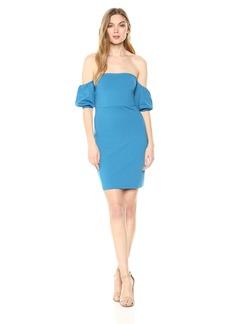 Susana Monaco Women's Melody Gathered Short Sleeve Off The Shoulder Dress AZULINE S
