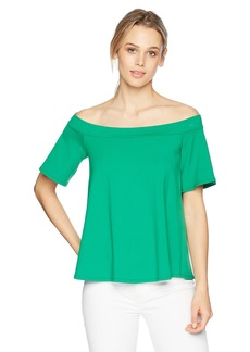 Susana Monaco Women's Piper Off The Shoulder Flutter Sleeve TOP with Back Bow TIE  M