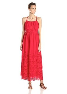 Susana Monaco Women's Tear Drop Eyelet Embroidery Nina 0 Inch Maxi Dress Radish