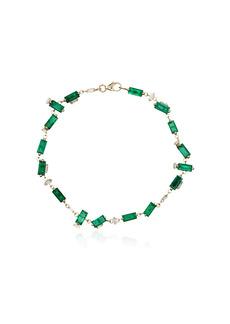 Suzanne Kalan 18kt yellow gold emerald and diamond tennis bracelet